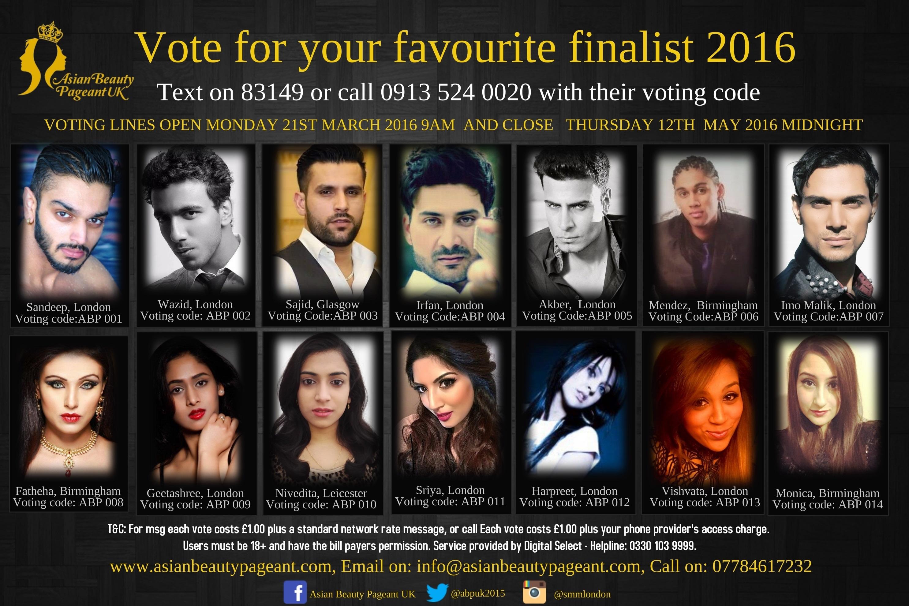Asian Beauty Pageant UK 2016 Finalists